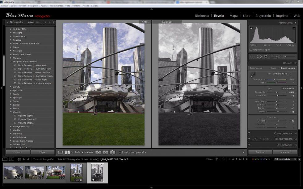 Conversión rápida de fotos a blanco y negro con Lightroom